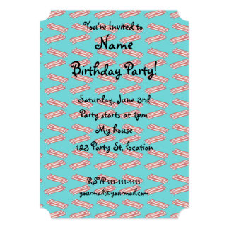 Turquoise bacon pattern 5x7 paper invitation card