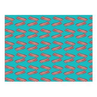 Turquoise bacon pattern postcard
