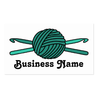 Turquoise Ball of Yarn & Crochet Hooks Business Cards