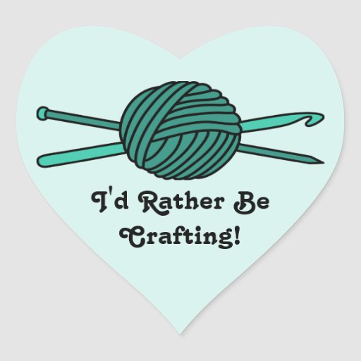 Turquoise Ball of Yarn (Knit & Crochet) Heart Stickers