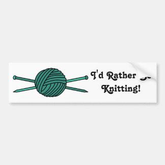 Turquoise Ball of Yarn & Knitting Needles Bumper Sticker