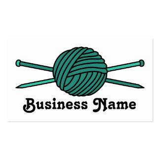 Turquoise Ball of Yarn & Knitting Needles Business Card