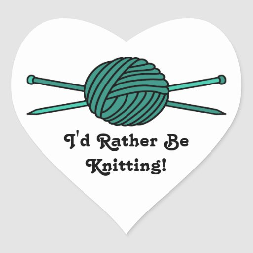 Turquoise Ball of Yarn & Knitting Needles Stickers