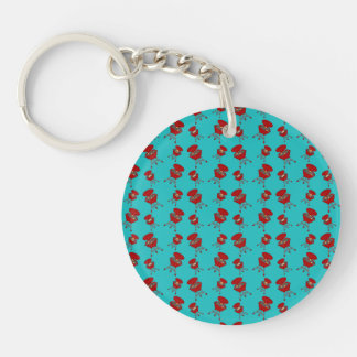turquoise barbeque pattern Double-Sided round acrylic keychain