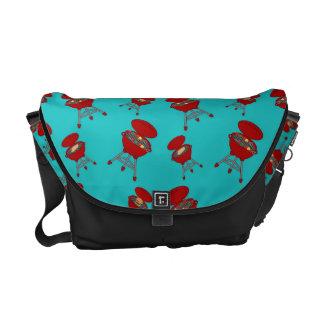turquoise barbeque pattern messenger bag