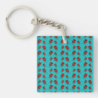 turquoise barbeque pattern Single-Sided square acrylic key ring