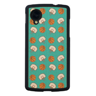 Turquoise basketballs and nets pattern carved® maple nexus 5 slim case