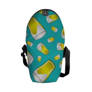 Turquoise beer messenger bag