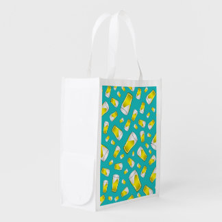 Turquoise beer grocery bags