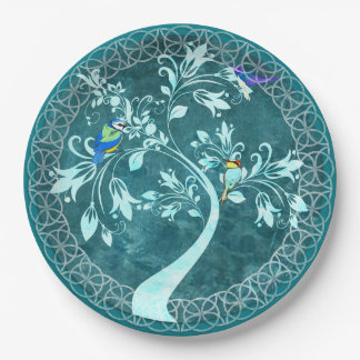 Turquoise Birds in a Tree Gorgeous Paper Plates 9 Inch Paper Plate