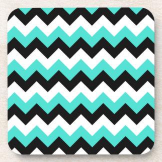 Turquoise Black and White Chevron Coaster