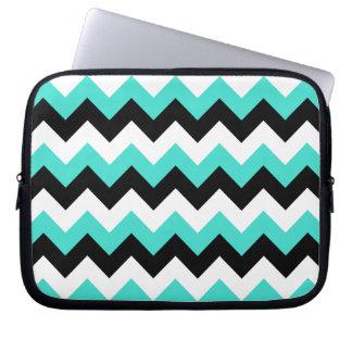 Turquoise Black and White Chevron Laptop Sleeve