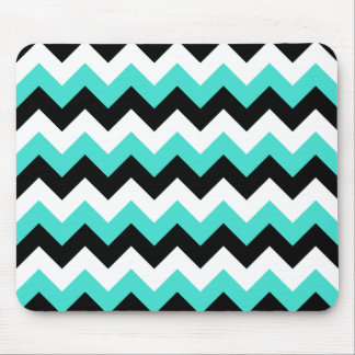 Turquoise Black and White Chevron Mouse Pad