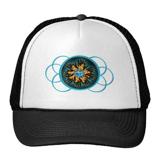 Turquoise & Black Blazing Hand Starburst Scroll Trucker Hat