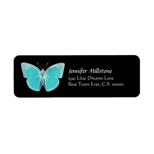 Turquoise & Black Butterfly Address Label