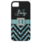 TURQUOISE BLACK CHEVRON GLITTER GIRLY BARELY THERE iPhone 5 CASE