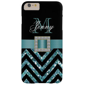 TURQUOISE BLACK CHEVRON GLITTER GIRLY BARELY THERE iPhone 6 PLUS CASE