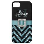 TURQUOISE BLACK CHEVRON GLITTER GIRLY iPhone 5 COVER