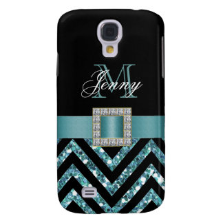 TURQUOISE BLACK CHEVRON GLITTER GIRLY GALAXY S4 CASE