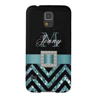 TURQUOISE BLACK CHEVRON GLITTER GIRLY GALAXY S5 COVER