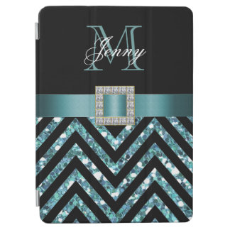 TURQUOISE BLACK CHEVRON GLITTER GIRLY iPad AIR COVER
