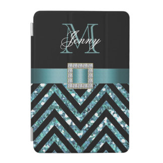 TURQUOISE BLACK CHEVRON GLITTER GIRLY iPad MINI COVER