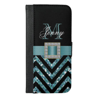 TURQUOISE BLACK CHEVRON GLITTER GIRLY iPhone 6/6S PLUS WALLET CASE