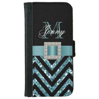 TURQUOISE BLACK CHEVRON GLITTER GIRLY iPhone 6 WALLET CASE