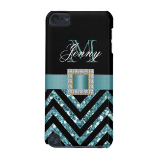 TURQUOISE BLACK CHEVRON GLITTER GIRLY iPod TOUCH (5TH GENERATION) COVERS