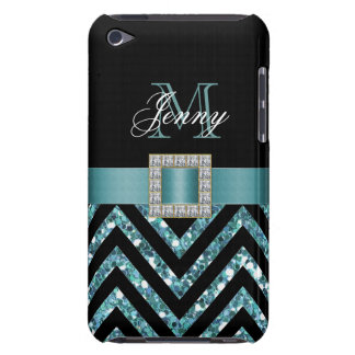 TURQUOISE BLACK CHEVRON GLITTER GIRLY iPod TOUCH COVER