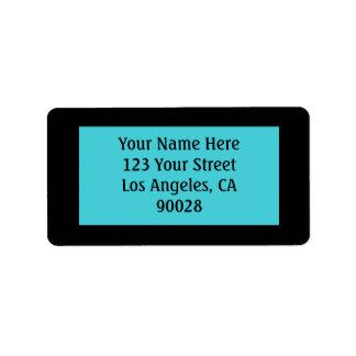 turquoise black color label