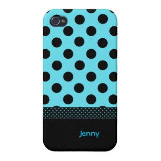 Turquoise & Black Custom Polka Dot iPhone 4 Case
