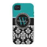 Turquoise, Black Damask Initial Name iPhone 4 Case