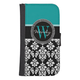 Turquoise, Black Damask Pattern Initial Name