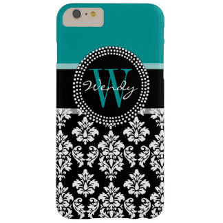 Turquoise, Black Damask Pattern Initial Name Barely There iPhone 6 Plus Case