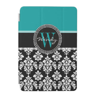 Turquoise, Black Damask Pattern Initial Name iPad Mini Cover