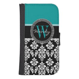 Turquoise, Black Damask Pattern Initial Name Samsung S4 Wallet Case