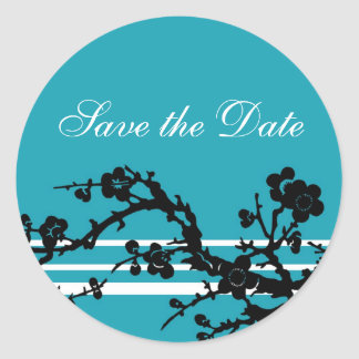 Turquoise Black Floral Save the Date Envelope Seal Round Sticker