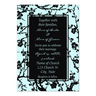 Turquoise & Black Floral Wedding Invitation Cards