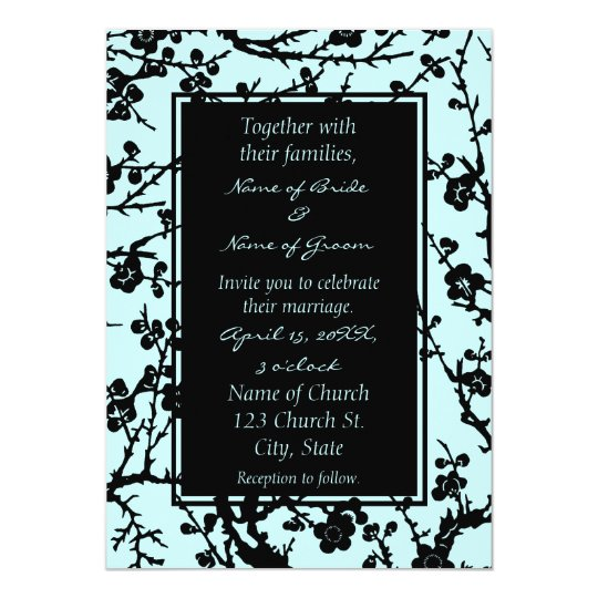 Turquoise & Black Floral Wedding Invitation Cards
