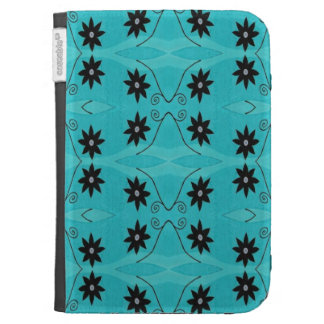 Turquoise Black Flower pattern Case For The Kindle