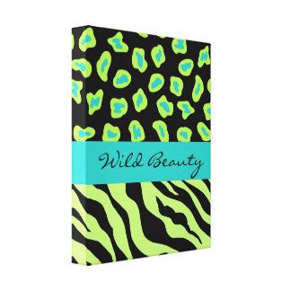 Turquoise Black & Green Zebra & Cheetah Customized Gallery Wrapped Canvas