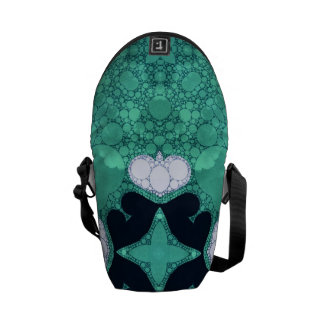 Turquoise Black Heart Abstract Commuter Bags