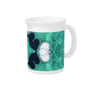 Turquoise Black Heart Abstract Beverage Pitcher