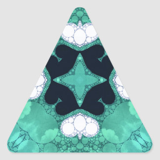 Turquoise Black Heart Abstract Triangle Sticker