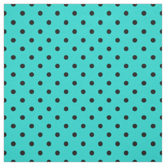 Turquoise Black Spotty Polka Dot Pattern Fabric