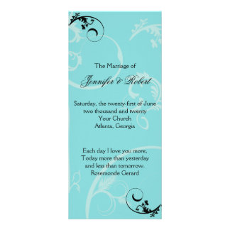 Turquoise Black Swirl Flourish Wedding Program Customized Rack Card