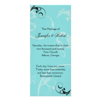 Turquoise Black Swirl Flourish Wedding Program Rack Card