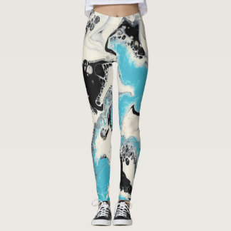 Turquoise, Black & White Abstract Leggings