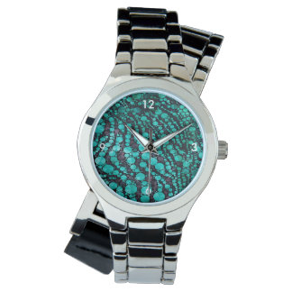 Turquoise Bling Zebra Watch